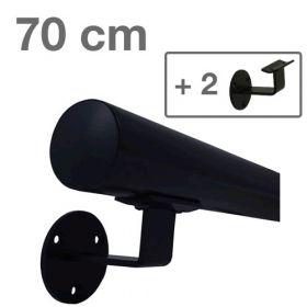Zwarte Trapleuning 70 cm + 2 houders