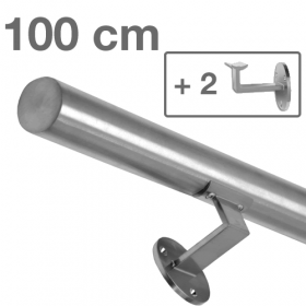 Main courante inox brossé 100 cm + 2 supports