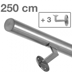 Main courante inox brossé 250 cm + 3 supports