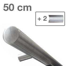 RVS design trapleuning 50 cm + 2 houders - Geborsteld