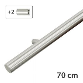 RVS design trapleuning 70 cm + 2 houders - Geborsteld