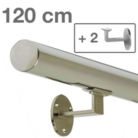 Main courante inox poli 120 cm + 2 supports