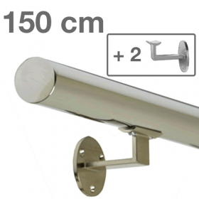 Main courante inox 150 cm + 2 supports