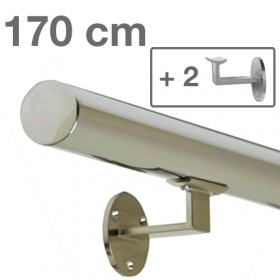 Main courante inox 170 cm + 2 supports