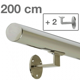 Main courante inox 200 cm + 2 supports