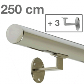 Main courante inox 250 cm + 3 supports