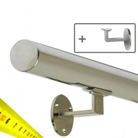 Main courante en inox sur-mesure avec supports, en cm