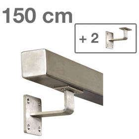 Main courante carrée en acier 150 cm + 2 supports