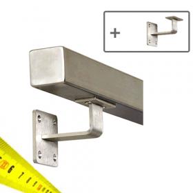 Main courante carrée en acier inoxydable + Supports - Sur mesure par cm