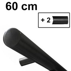 Main courante design noire - 60 cm + 2 supports